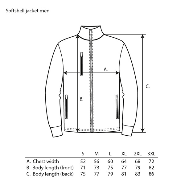 Guide tailles Veste Softshell homme Metso