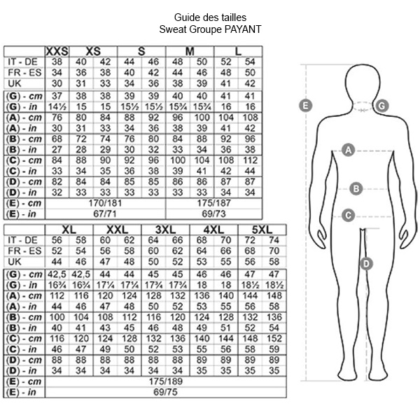 Guide des tailles du sweat Groupe PAYANT