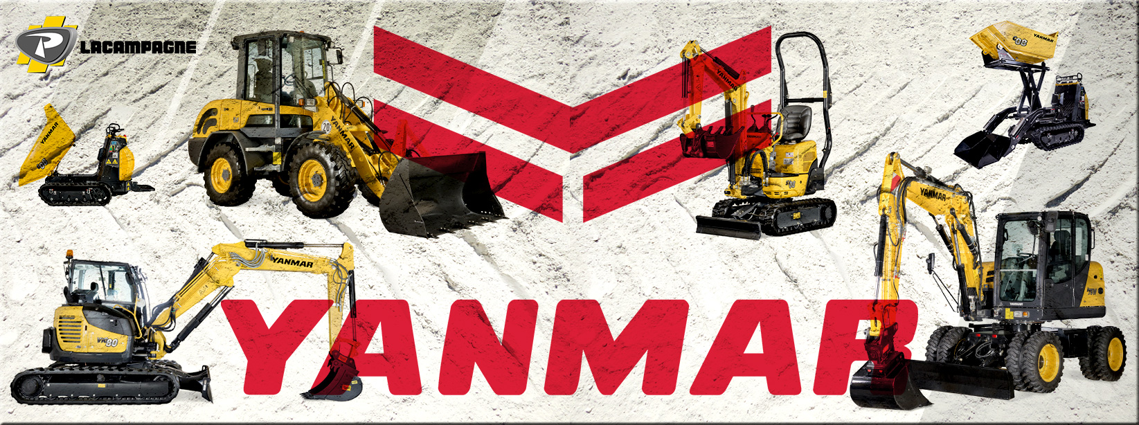Images de présentation de gammes Yanmar : Mini pelles, Midi pelles, Carriers, Chargeuses et Pelles sur pneus