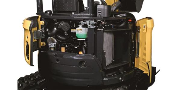 Mini pelle Yanmar ViO23 - Vue sur le moteur et son accès