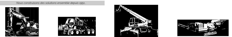Nous construisons des solutions ensemble depuis 1951 - Pictos secteurs métiers : TP, Forestier, Levage/Manutention, CRE