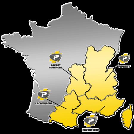 Zones de distribution de matériels LASER-GRADER