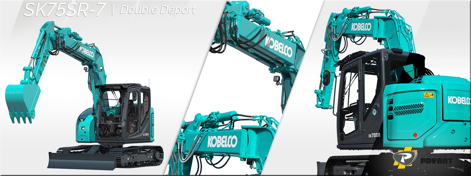 Images Midi pelle Kobelco SK75SR-7 Double Déport - Groupe Payant
