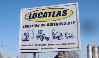 Panneau Locatlas : Location de Matériels BTP