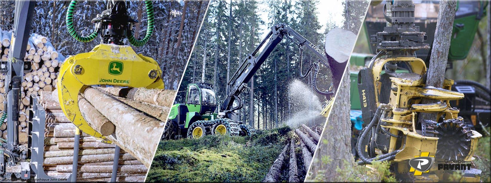 Grappins et Couteaux d'ébranchage pour matériels forestiers John Deere