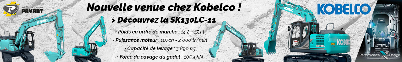 Nouvelle Pelle hydraulique SK130LC-11 Kobelco - Groupe PAYANT
