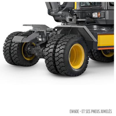 Pelle compacte EW60E et ses pneus jumelés