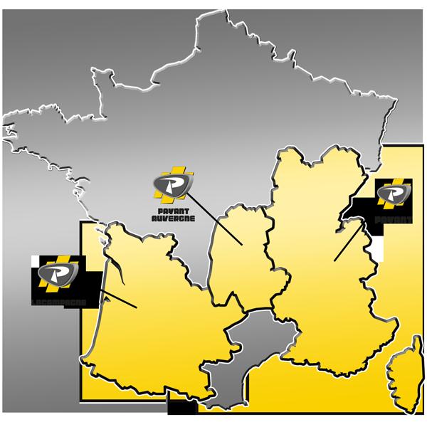 Zone de distribution des matériels de travaux publics du Groupe PAYANT
