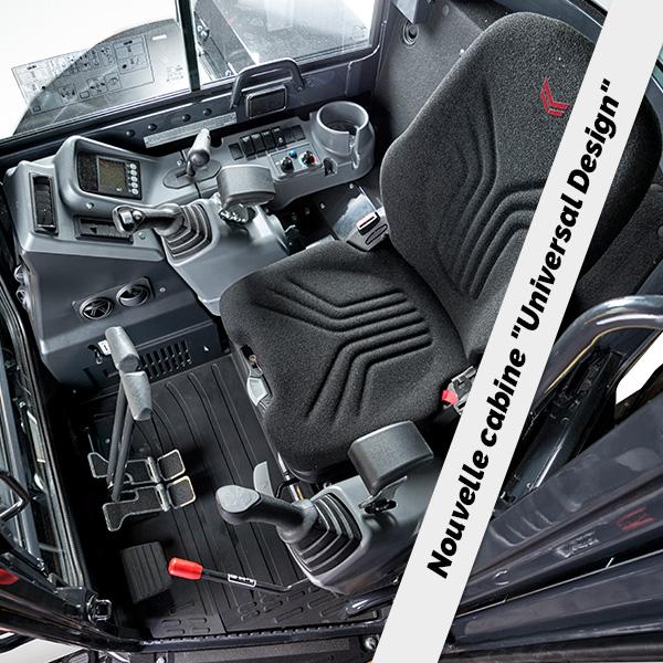 Mini pelle ViO57-6 Yanmar : Cabine spacieuse, confortable et ergonomique