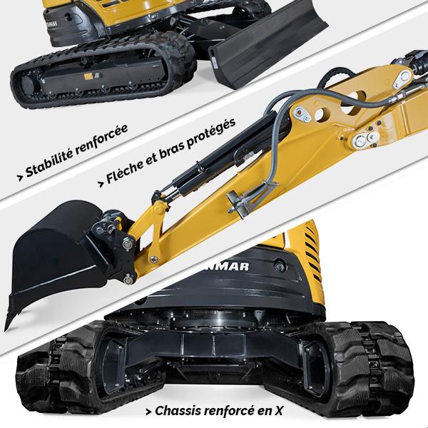Mini pelle ViO57-6 Yanmar : Stabilité et sécurité