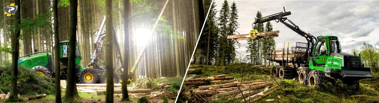 Abatteuse et porteur forestier John Deere - Groupe Payant