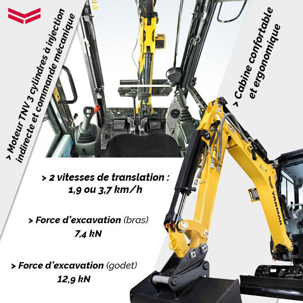 Mini pelle SV15VT Yanmar : performante et ergonomique