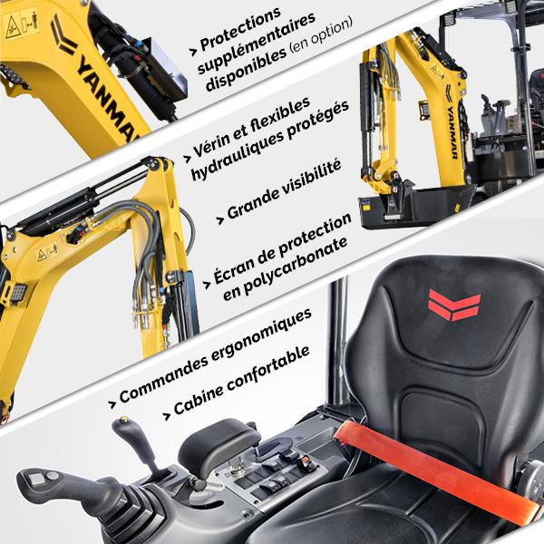 Mini pelle SV17VT Yanmar : robuste, fiable et ergonomique