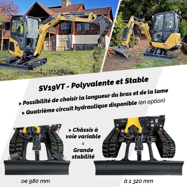 Mini pelle SV19VT Yanmar : Polyvalente et stable