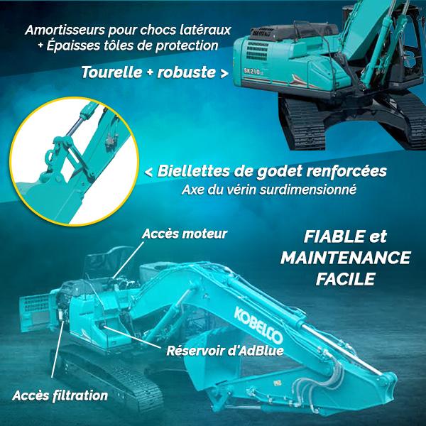 Pelle sur chenilles SK210LC-11 et SK210NLC-11 Kobelco : fiabilité et maintenance facile