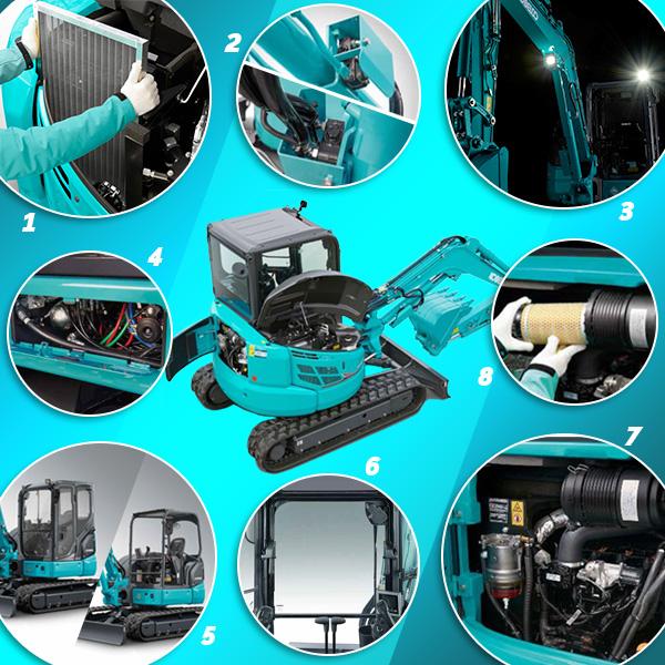 Mini pelle sur chenilles SK58SRX-7 Kobelco : sécurité et disponibilité